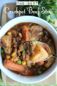 The Best Crockpot Beef Stew -- FamilyFreshMeals.com
