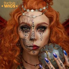 The fabulously creative, creepy makeup look - designed for the Halloween season - by @pigeon_pie_art is captured in this speedy video tutorial. The talented makeup artist takes us through each step & product used to create her innovative 'Gypsy Skull' design. The horror queen opted for the Merida Wig to complete her look - long, thick and full ginger curls finish this off perfectly. Visit StarStyleWigs.com for wig info. #HalloweenMakeup #HorrorMakeup #MakeupTutorial #SkullMakeup #HalloweenIdeas Creepy Makeup, Horror Makeup, Sfx Makeup, Halloween Makeup Looks, Halloween Kostüm, Halloween Season, Halloween Costumes, Costume Wigs, Costume Makeup