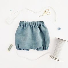 French Blue Linen Bloomers  Made of vintage washed linen fabric woven of 100% Belgian flax, made in Japan. Pre-washed for softness and beautiful