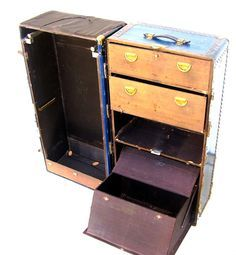 Antique Steamer Trunk Nautical Navy Blue Travel by OceansideCastle, $269.00
