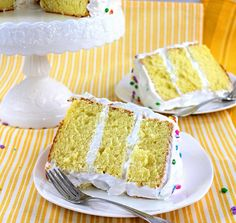 Delicious, light and fluffy lemon chiffon cake filled and frosted with meringue frosting Lemon Chiffon Cake, Meringue Frosting, Custard, Vanilla Cake, Cake Recipes, Caramel, Cooking Recipes, Women's Fashion, Inspirational