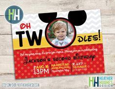 boy Mickey Mouse birthday invite, 2nd birthday oh toodles TWOdles printable invitation, polka dot and chevron customize personalize by HeatherHughesDesign on Etsy https://www.etsy.com/listing/275134938/boy-mickey-mouse-birthday-invite-2nd