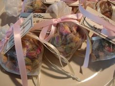 100  Wedding  Favors - Heart Shaped Organza Bags Filled with Moroccan Pink Rose Buds