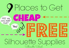 Silhouette School: FREE or Cheap Silhouette Supplies: 9 Places to Look + a link at the end of the post for where to find free designs and cut files.
