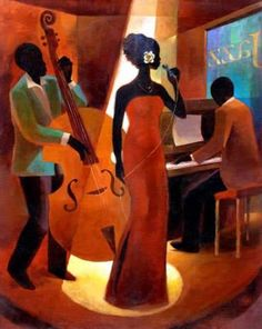 Your Source for Fine Black Art Prints and Posters by African American Artists, other Ethnic and Decorative Prints and and Posters at Everyday Discount Prices. Arte Jazz, Jazz Art, African American Artist, American Artists, Jazz Painting, Black Art Painting, Art Amour, Arte Black, Afrique Art