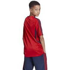 A ventilated jersey for honing your skills. Stay cool as you perfect your game on the training pitch. This football jersey is made from soft fabric that's breathable and quick drying to keep you comfortable during intense workouts. Adidas Soccer Uniforms, Team Uniforms, High School Soccer, Clothing Size Chart, Adidas Kids, Team Wear, Soccer Fans, Sports Mom, Team Apparel
