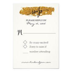 Gold Glitter RSVP Wedding Cards Glam Glitter Black and White Floral RSVP Card