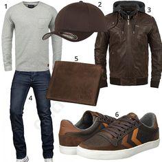 Herrenoutfit mit brauner Lederjacke, Geldbörse und Cap #lederjacke #geldbeutel #jeans #cap #outfit #style #fashion #ootd #herrenmode #männermode #outfit #style #fashion #menswear #mensfashion #inspiration #menstyle #inspiration