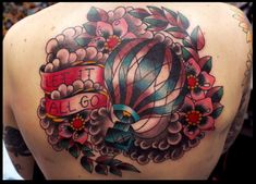 another awesome hot air balloon tattoo. Yet gigantic! Air Balloon Tattoo, Tribute Tattoos, Fan Tattoo, Traditional Ink, Great Tattoos, Gorgeous Tattoos, Tattoo Images, Tattoo Inspiration, Tattoo Artists
