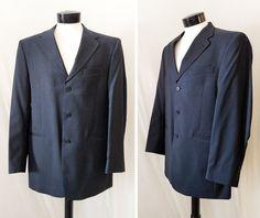 men's double breasted blazer - Navy sport coat - vintage men's sport coat - men's 70's 80's blazer - pin strip sport coat - Size 42 L # 36 SkVz3