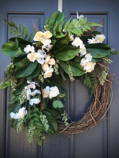 Spring Wreath Magnolia Wreath White Green Spring Wreath Magnolia Wreaths Fern New Home Gift Housewarming Gift Mothers Day Gift White Green Magnolia Wreath, Magnolia Leaves, Door Wreaths, Grapevine Wreath, Spring Door, New Home Gifts, Mother Day Gifts, Grape Vines, House Warming