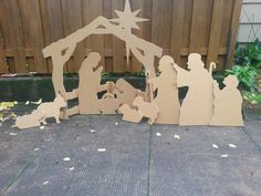 Nativity scene made from sheet of 1/2 inch plywood.