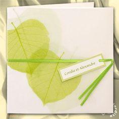 faire part mariage vert et blanc