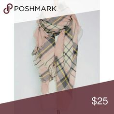 Blush Pink Plaid Blanket Scarf Soft blanket scarf in a pretty blush pink and black plaid. Fringe edges. Can also be worn as a wrap or shawl. 55 x 55. NO TRADES Accessories Scarves & Wraps