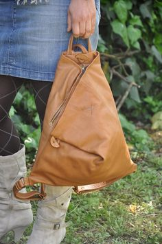 Handmade Leather Backpack Bag,Triangle in Noce color MADE TO ORDER