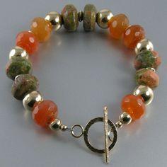 Unakite Jasper, Carnelian, Gold Bead Bracelet, Green, Orange, Gold Bracelet  $77 Jewelry By Tali