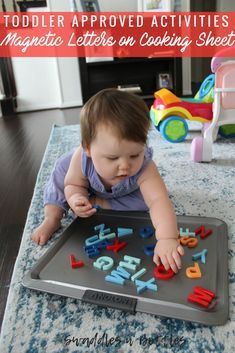 Toddler Approved Activities- Magnetic Letters on Cooking Sheet- Indoor activity for children 1 year old and up!