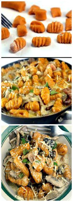 Homemade Sweet Potato OR Pumpkin Gnocchi with Creamy Mushrooms