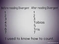 So this one I love and it is so hilarious if you've read Divergent(super sorry if you haven't read and it sounds like Gibberish!) because counting is 1,2,3,4,5,6,7. But after the fear simulator, they call Four, Four because he has only four fears. Then Tris got six fears and Tobias sends her a note and it says To Six, From Four because earlier she said to him 'We can be Four and Six now' because they are also a couple. And just imagine, they could name their child Ten ;) Divergent Memes, Divergent Hunger Games, Divergent Fandom, Divergent Trilogy, Divergent Insurgent Allegiant, Divergent Dauntless, Insurgent Quotes, Book Memes, Book Quotes