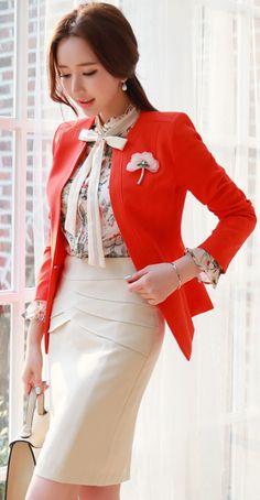 StyleOnme_Curved Flap Detail H-Line Skirt #elegant #pencilskirt #feminine #koreanfashion #springtrend #seoul #kstyle #skirt
