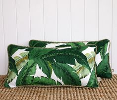 Green Palm Banana leaf Outdoor Lumbar Cushion Pillow Cover with piping | 60 x…
