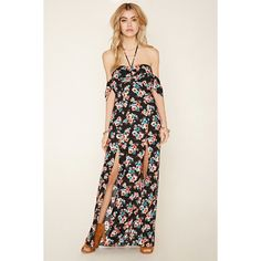 Forever 21 Women's  Floral M-Slit Maxi Dress (€22) ❤ liked on Polyvore featuring dresses, white halter top, short-sleeve dresses, floral print maxi dress, white halter dress and forever 21 dresses
