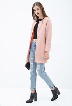Fall Trend: The Collarless Coat // Pink Collarless Scuba Knit Coat