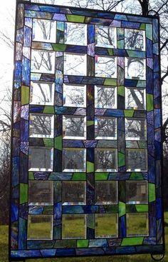 Asymmetrical Basketweave Stained Glass Window BL18