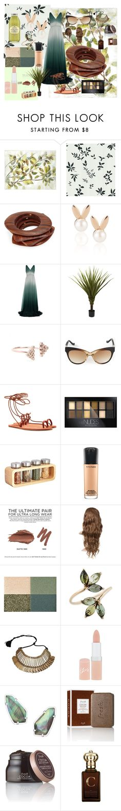 """""""earth tones"""" by jazzktiwana ❤ liked on Polyvore featuring Pier 1 Imports, Brewster Home Fashions, Kenneth Jay Lane, Aamaya by priyanka, Burberry, Nearly Natural, Jacquie Aiche, The Row, Chloé and Maybelline"""