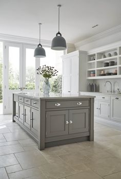 Shaker Kitchens - Warm Grey Shaker Kitchen - Tom Howley(Beauty World Dreams) Browse photos of Small kitchen designs. Discover inspiration for your Small kitchen remodel or upgrade with ideas for organization, layout and decor. Open Plan Kitchen Living Room, Kitchen Dining Living, Home Decor Kitchen, Kitchen Interior, New Kitchen, Kitchen Grey, Kitchen Ideas, Kitchen Inspiration, L Shape Kitchen
