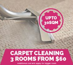Carpet Steam Cleaning 3 rooms including hallway for $65 upto 34sqm
