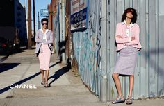 "Chanel Spring/Summer 2016 Ready-To-Wear Ad Campaign. ""City Western"" Photographed By: Karl Lagerfeld. Models. Lineisy Montero Feliz. Mica Arganaraz. Shot In: Brooklyn, NY, USA."