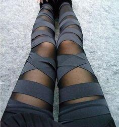 LOCOMO Women Half Mesh Inset Stripes Footless Legging