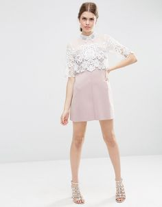 Image 4 ofASOS Lace Panel Embellished Collar Scuba Skirt Shift Dress