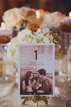 "The two of you can write these together. Use them instead of standard table numbers — for example, one table would be the ""First Kiss"" table and another would be the ""First Date"" table and so on.Related: 50 Memorable Ideas for Your Table Numbers"