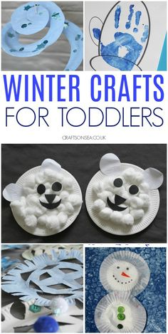 Easy winter crafts toddlers can make Winter Crafts For Toddlers, Crafts Toddlers, Cute Kids Crafts, Crafts For Kids To Make, Toddler Crafts, Toddler Activities, Christmas Tree Paper Craft, Snowman Crafts, Creative Kids