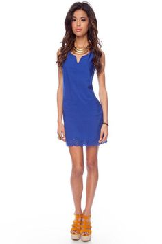 A blue shift dress under $40! This can easily go from day to night with the right accessories.