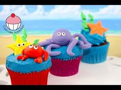 Under the Sea Cupcakes! Make Sugar Sea Creatures - A Cupcake Addiction How To Tutorial - YouTube
