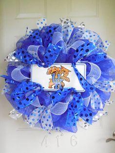 Reserved Listing UK University of Kentucky Blue by TowerDoorDecor University Of Kentucky, Kentucky Wildcats, Wreath Ideas, Diy Wreath, Sports Wreaths, Sports Decor, Uk Universities, Year Round Wreath, Mesh Ribbon