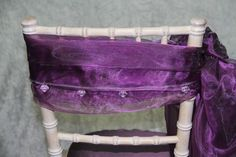 Purple organza chair tie