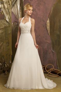 2013 Wedding Dresses Empire Waist Sweep/Brush Train Chiffon Beading & Sequince