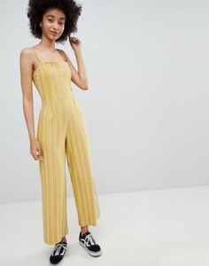 Bershka stripe wide leg jumpsuit in yellow