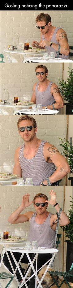Ryan Gosling noticing the paparazzi