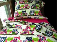 Owl Bedding Set Girls Toddler Fleece Bedding Set by LazyBugFleece