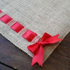 Camino de mesa de arpillera Natural Premium con cinta de raso | Etsy