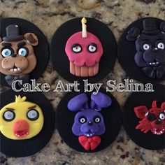 Five Nights at Freddy's Hand Sculpted Cookie Toppers. Made by Me