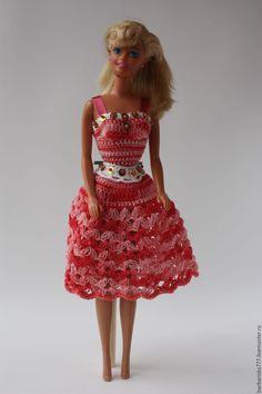 Купить платье меланж - синий, одежда для кукол, платье вязаное, барби, Вязание крючком, подарок ☆