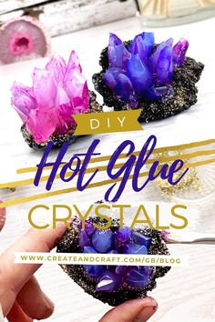 Hot glue is such an awesome craft stash item. Check out Penelope Quinn's glue gun project here, and discover the latest hot glue gun craft that we've fallen in love with… DIY crystals! Glue Gun Projects, Glue Gun Crafts, Diy Crafts, Diys With Hot Glue, Diy Crystal Crafts, Hot Glue Art, Diy Crystals, Borax Crystals, Diy Glue