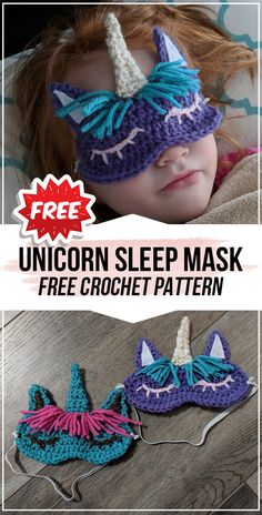 crochet Child's Unicorn Sleep Mask free pattern - easy crochet eye-mask pattern for beginners - All Crochet Pattern - Crochet Gratis, Cute Crochet, Crochet For Kids, Easy Crochet, Knit Crochet, Crotchet, Crochet Eyes, Crochet Mask, Sleep Mask