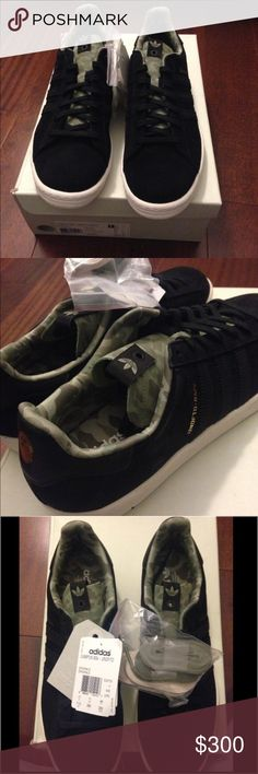 🎉HOST PICK LMTD. ED.ADIDAS CAMPUS 80s UNDEFEATED LIMITED EDITION: MENS Adidas size 11.5, adidas campus 80s undefeated sneakers. Black with camouflage design. Comes with black laces, cream laces, and green camo laces as pictured to use as you wish and to alternate whatever color you desire! BRAND NEW NEVER WORN!! Comes with it's original box. Adidas Shoes Athletic Shoes
